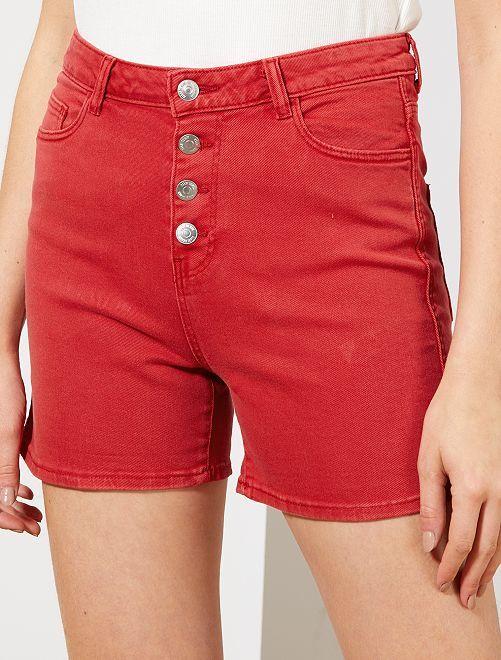 Short en twill braguette boutonnée                                                                                                                 rouge Femme
