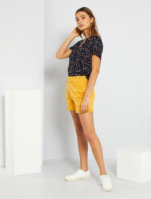 Short taille haute                             jaune