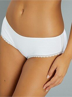 Culotte, shorty, string - Shorty coton galons dentelle