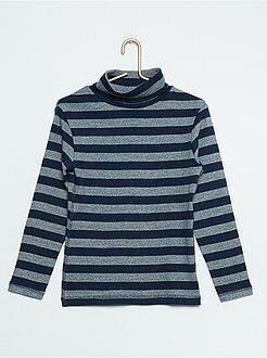 Tee shirt, polo bleu - Sous-pull rayé pur coton