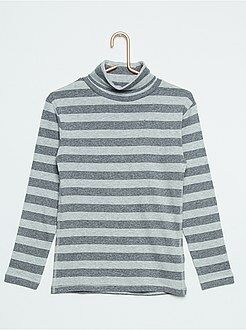 Tee shirt, polo gris - Sous-pull rayé pur coton