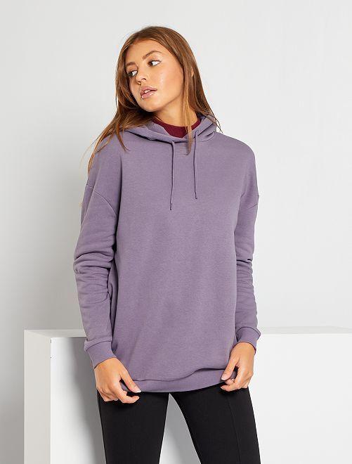 Sweat à capuche oversize                                                     violet grisé