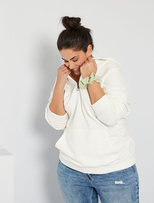 Sweat à capuche zippé                                                     blanc