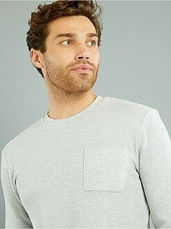 Sweat col rond gris maille nid d'abeille