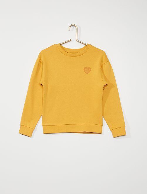Sweat imprimé 'cœur'                                                                                                                 jaune moutarde