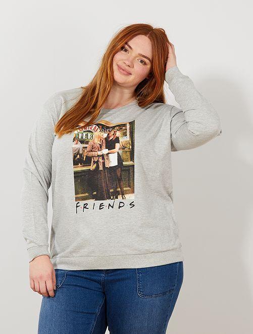Sweat léger 'Friends'                             gris Grande taille femme