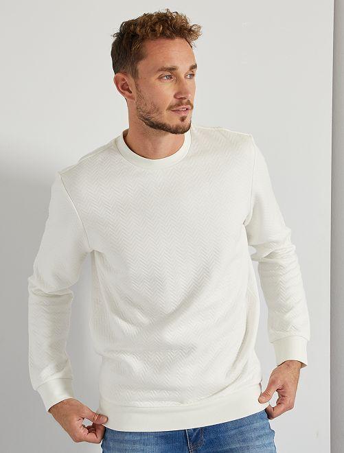Sweat quilté motif chevrons +1m90                                         blanc