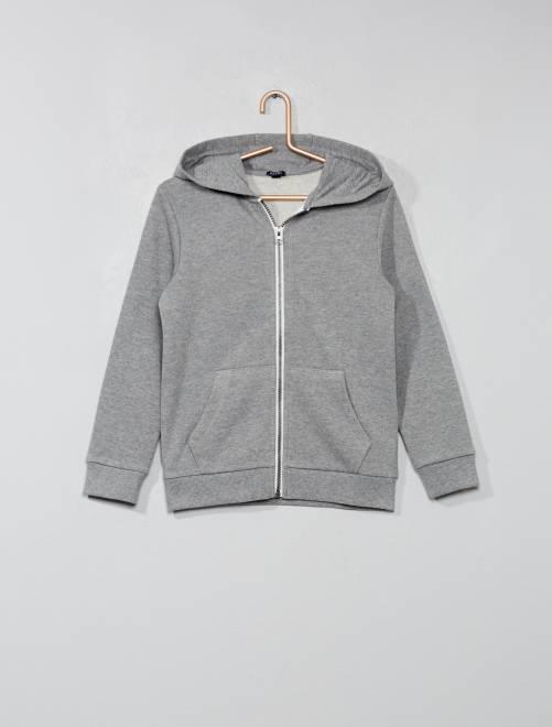 Sweat uni zippé                                             gris clair chiné