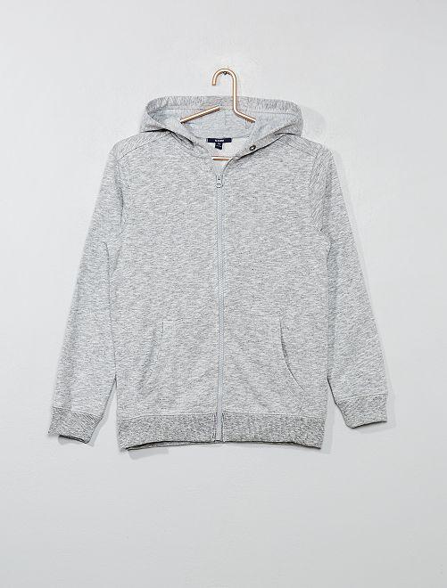 Sweat zippé à capuche uni                                             gris Garcon adolescent
