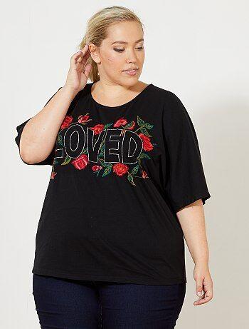 T-shirt à fleurs brodées - Kiabi