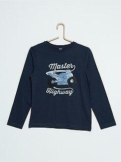 T-shirt manches longues - T-shirt à sequins réversibles - Kiabi