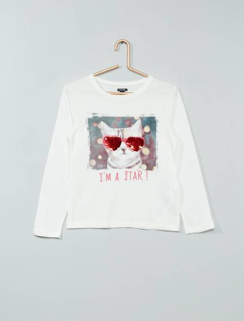 t shirt sequins r versibles fille blanc chat kiabi 8 00. Black Bedroom Furniture Sets. Home Design Ideas