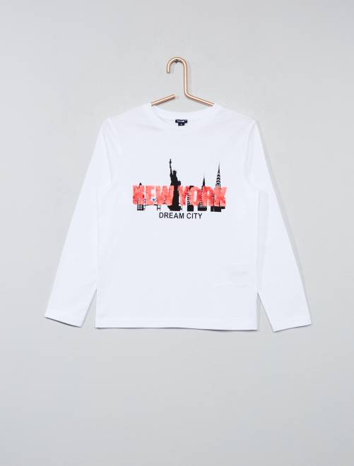 t shirt sequins r versibles gar on blanc kiabi 8 00. Black Bedroom Furniture Sets. Home Design Ideas