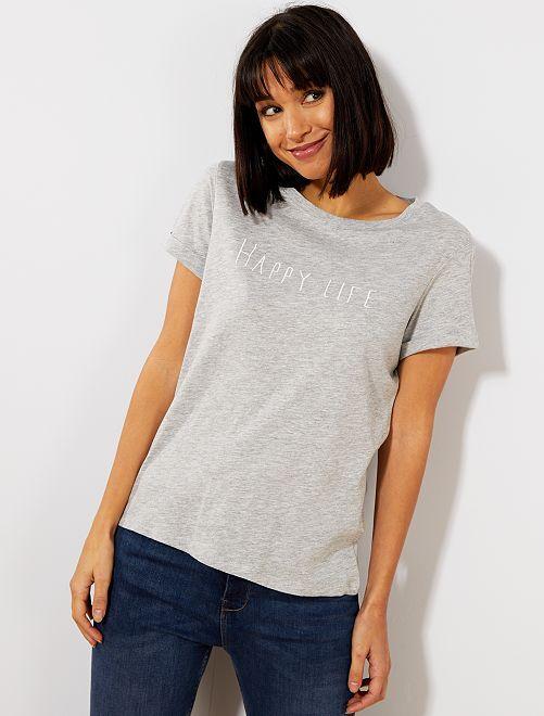 T-shirt avec message en coton bio                                                                 gris Femme