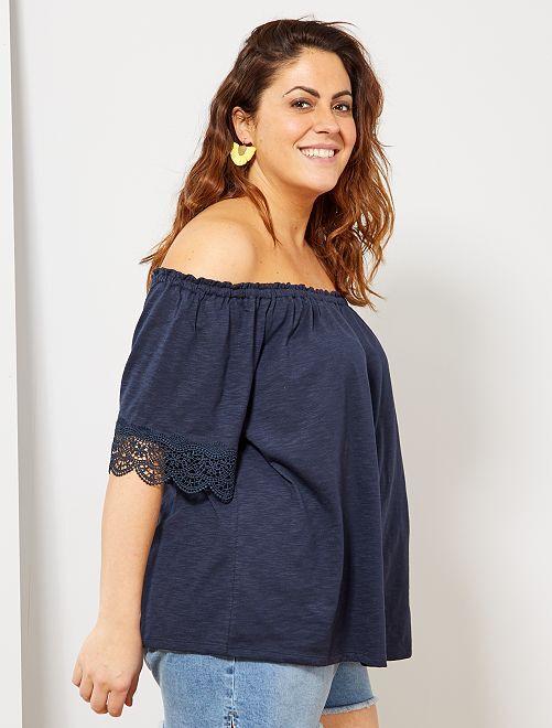 T-shirt Bardot avec galons                                                     bleu Grande taille femme