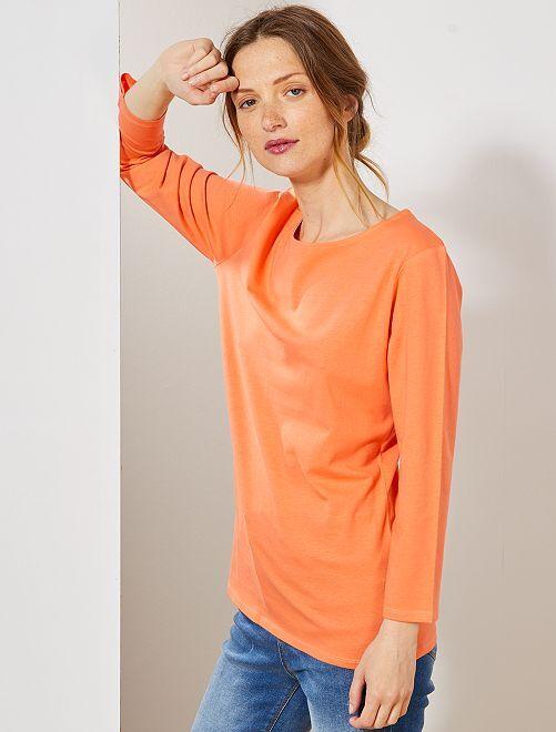 T-shirt basique col bateau                                                                                                                                                     orange corail Femme