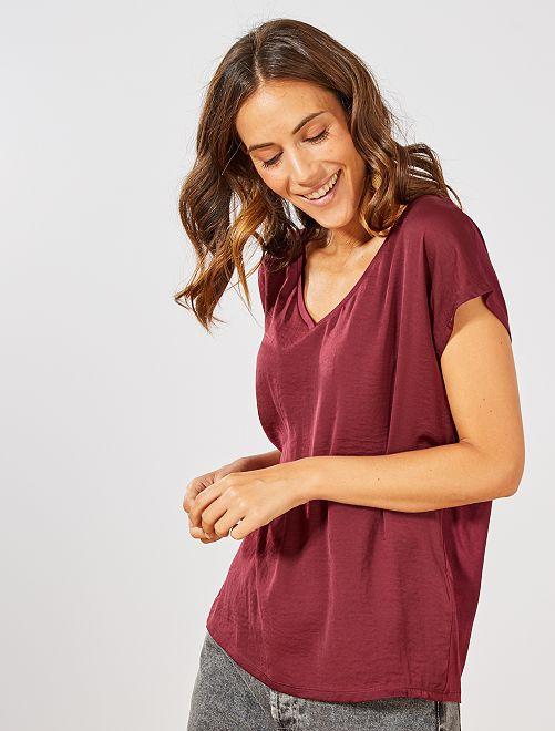 T-shirt bi-matière col V                                                                 bordeaux Femme