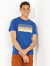 T-shirt bleu imprimé 'summer'
