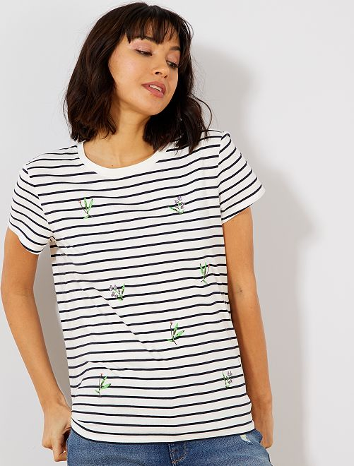 T-shirt brodé                                         blanc rayé Femme