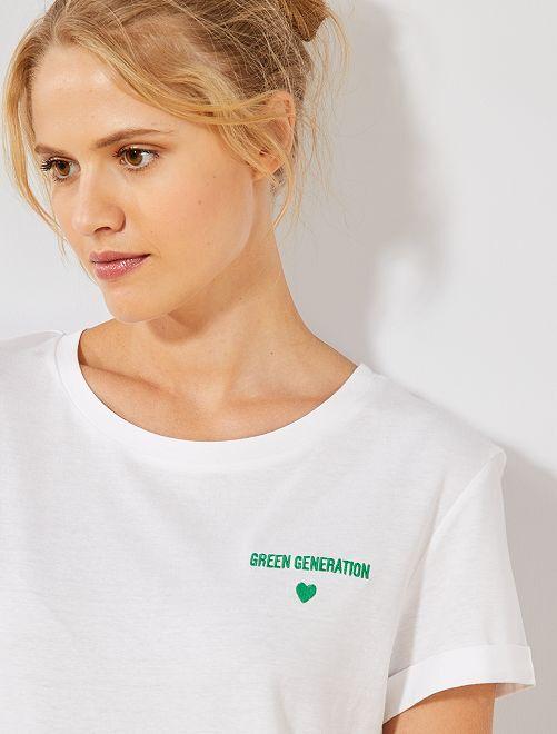 T-shirt brodé 'éco-conception'                                                                 blanc Génération Femme