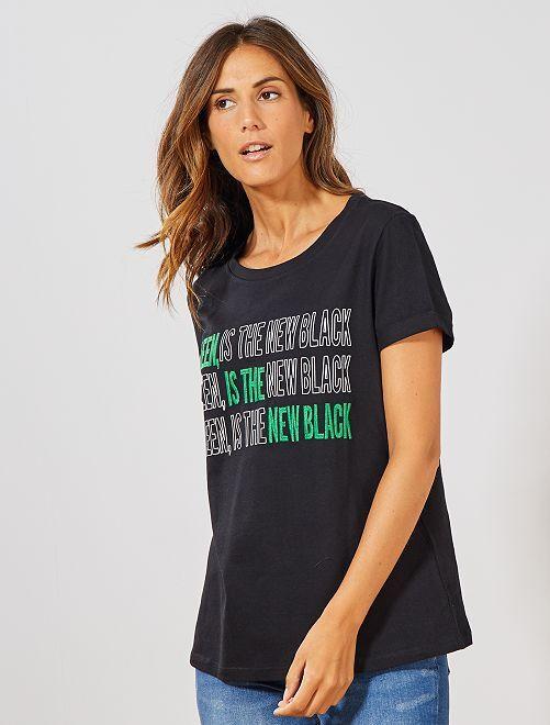 T-shirt brodé 'éco-conception'                                                                 noir Femme