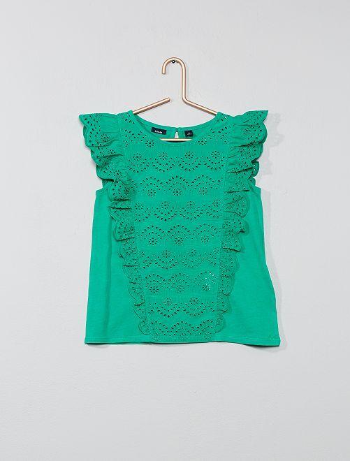 T-shirt broderie anglaise                                                                                         vert Fille