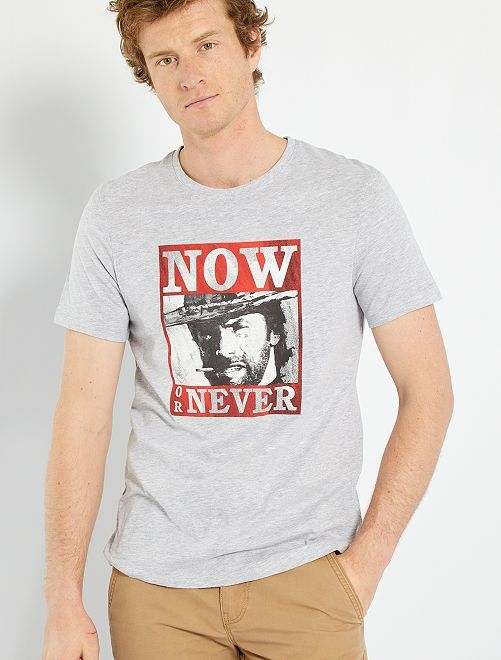 T-shirt Clint Eastwood                             gris clair chiné