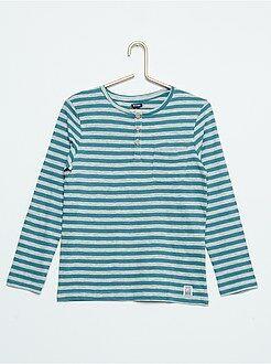 Tee shirt, polo bleu - T-shirt col tunisien