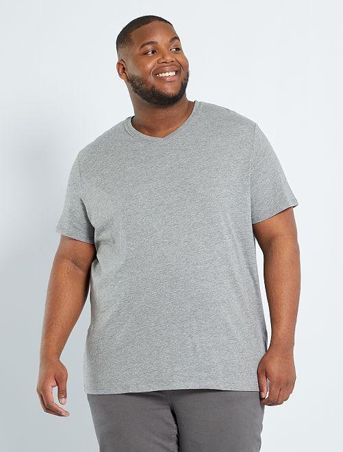 T-shirt col V                                                                                         gris chiné