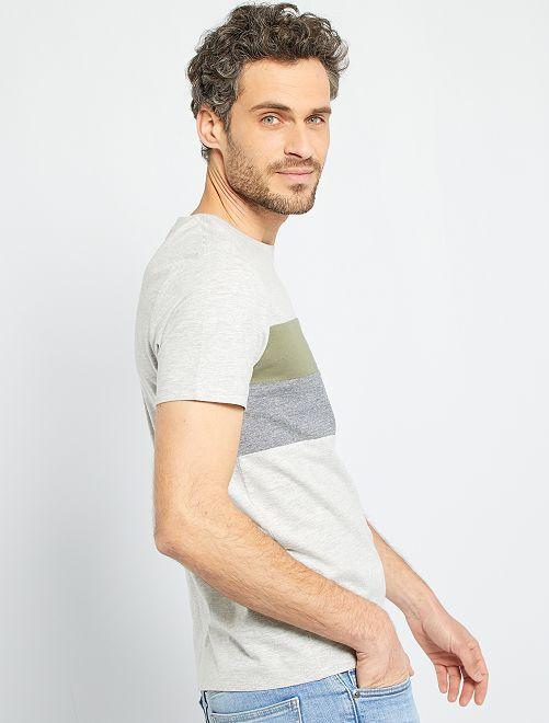 T-shirt color block                                         gris clair chiné
