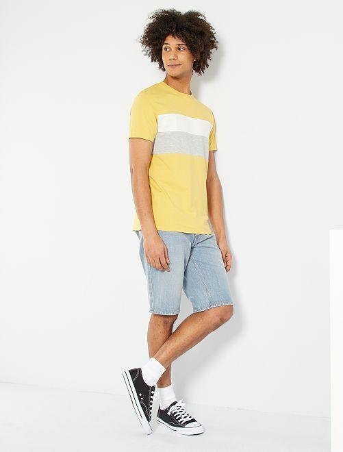 T-shirt color block                                         jaune pâle