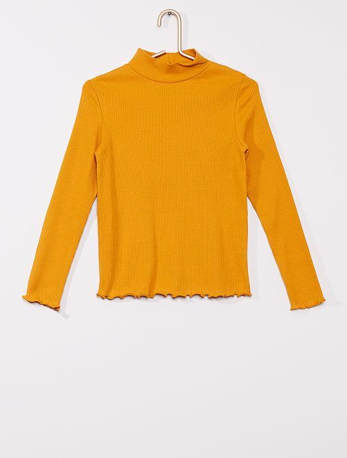 T-shirt côtelé                                                                             jaune moutarde