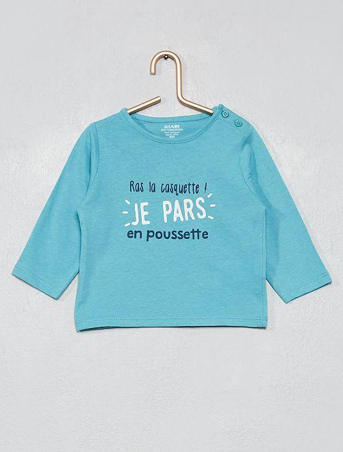 T-shirt coton bio                                                                                                                                                                                         bleu/poussette