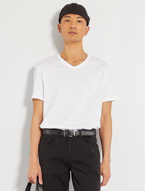 T-shirt coton col V                                                                                                                                                     blanc