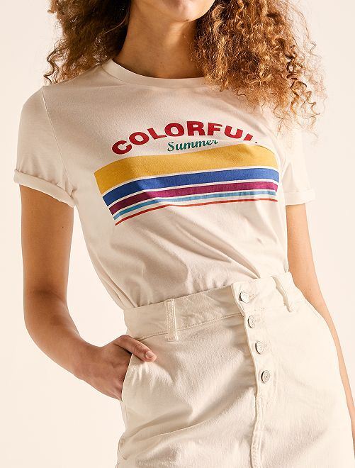 T-shirt cropped 'éco-conception'                                                                                         écru colorful Femme