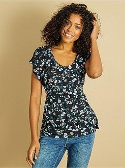 Maternité - T-shirt d'allaitement fleuri - Kiabi