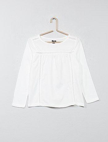 T-shirt détail dentelle - Kiabi