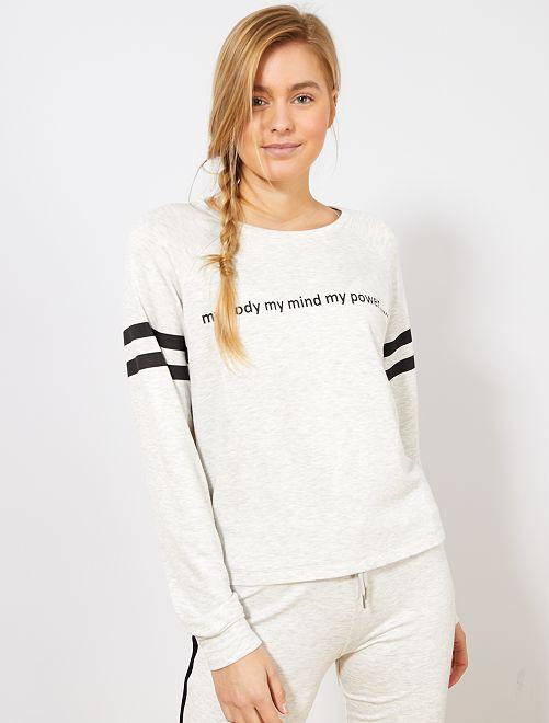 T-shirt doux imprimé                                         gris chiné