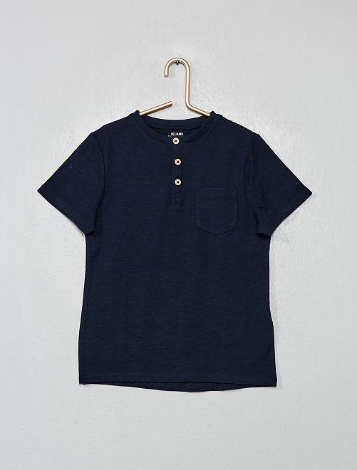 T-shirt éco-conçu col tunisien                                         bleu marine