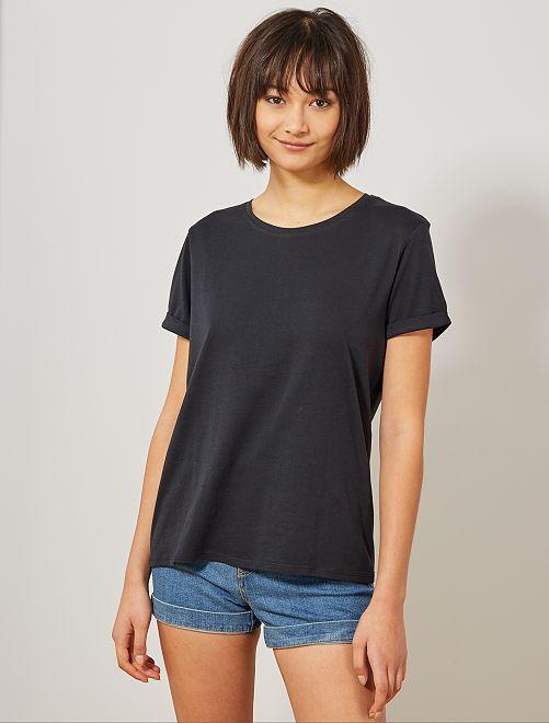 T-shirt en coton bio                                                                                                                                                     noir Femme