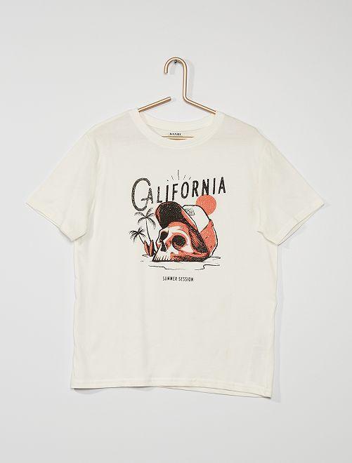 T-shirt en coton imprimé 'crâne'                                                                 blanc