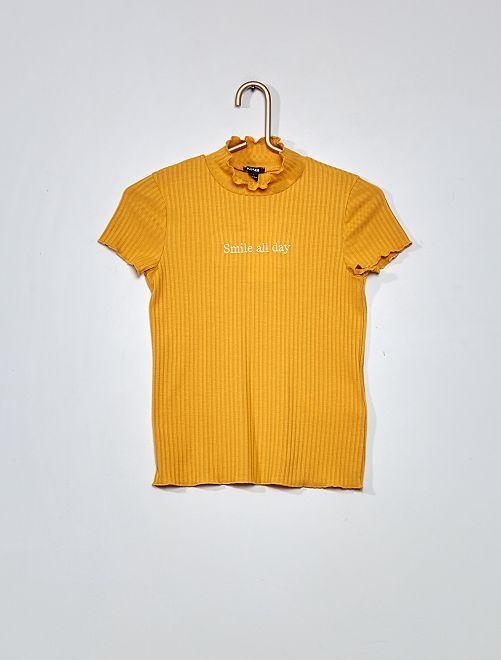 T-shirt en maille côtelée                                         jaune