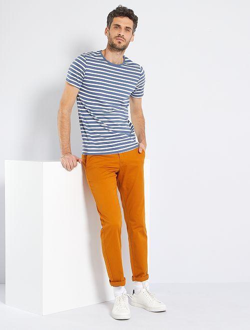 T-shirt esprit marinière                                                     bleu