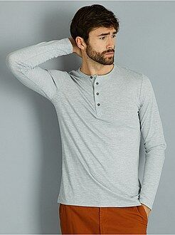 Homme du S au XXL - T-shirt fitted injected col tunisien - Kiabi