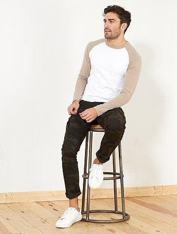 T-shirt fitted raglan bicolore - Kiabi