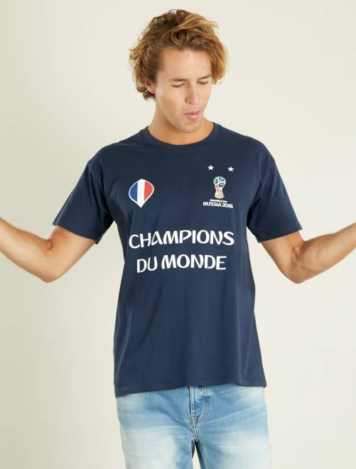 t shirt france 39 champions du monde 39 2018 homme bleu marine kiabi 14 00. Black Bedroom Furniture Sets. Home Design Ideas