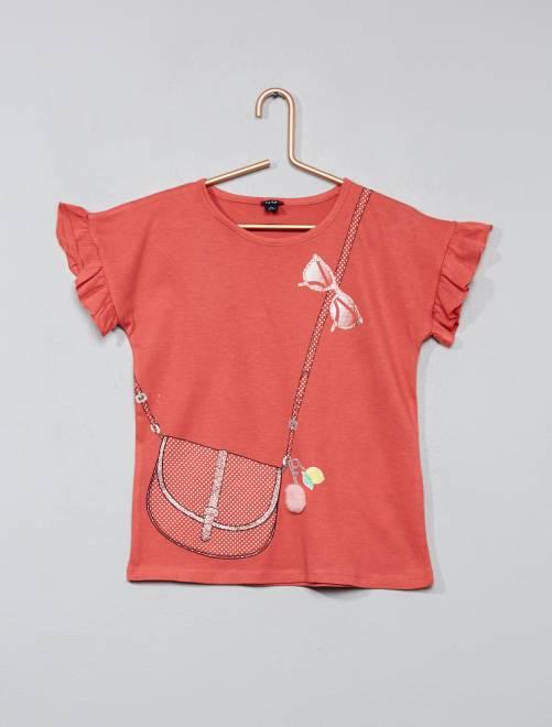 T shirt impression trompe l 39 oeil fille vieux rose - Impression sur tee shirt ...