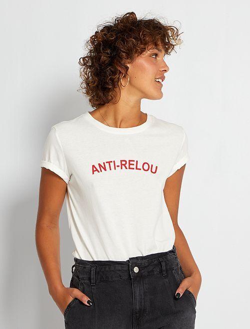 T-shirt imprimé 'anti-relou'                                                                                                                                                                                                                                                                 écru