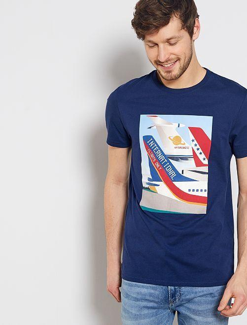 T-shirt imprimé 'avion'                                         bleu marine