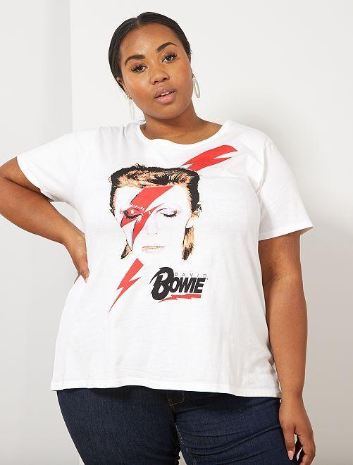 T-shirt imprimé 'Bowie'                             blanc Grande taille femme